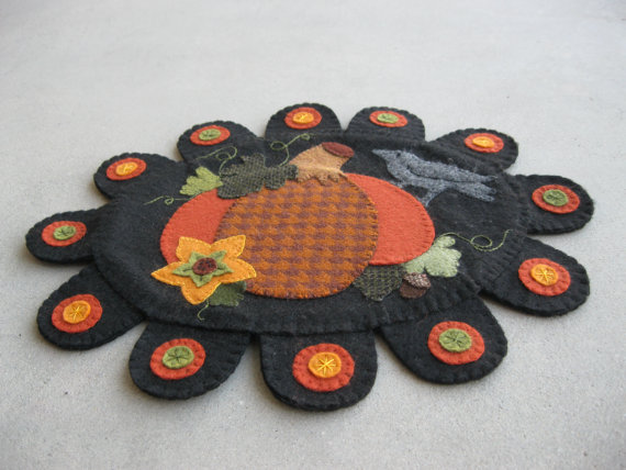 Penny Rug Pattern Pumpkin And Crow